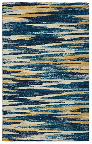 "Rugsmith"" Slash Ikat Modern Bohemian Area Rug, 5′ x 7′, Blue"