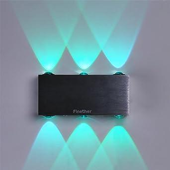 Finether 18W LED Wandleuchte Wandlampe Wandfluter Flurlampe Mit 2 Leuchten  | Mehrere Modi Wandleuchte Fernbedienung Für