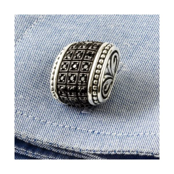 Scott-Kay-Mens-Silver-Black-Sapphire-Engraved-Cufflinks