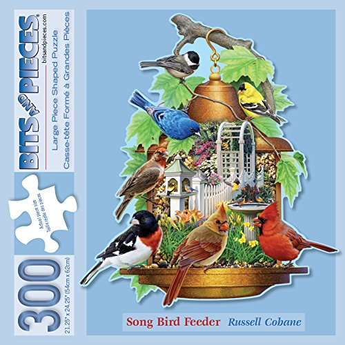 Bits and Pieces - 300 Piece Shaped Jigsaw Puzzle for Adults - Song Bird Feeder - 300 pc Cardinal Jigsaw by Artist Russell Cobane