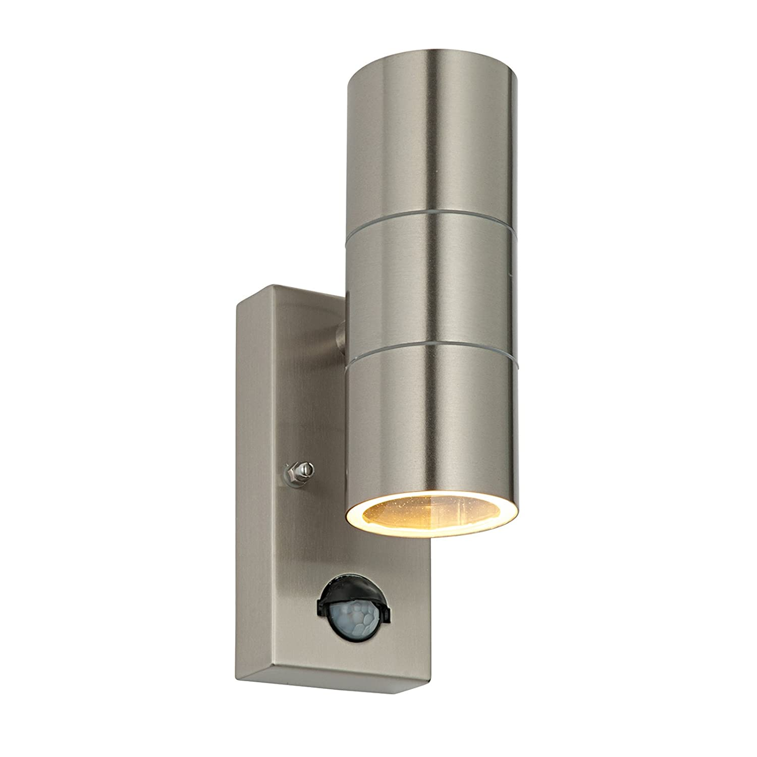 Saxby palin 35w brushed stainless steel pir outdoor garden ip44 saxby palin 35w brushed stainless steel pir outdoor garden ip44 motion sensor steel up down wall light amazon garden outdoors aloadofball