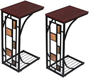 YAHEETECH C Shaped Sofa Side Table, Mobile End Table for Living Room, Snack Table for Coffee Laptop, Accent Furniture with Metal Frame and Storage Shelf Tray, Set of 2