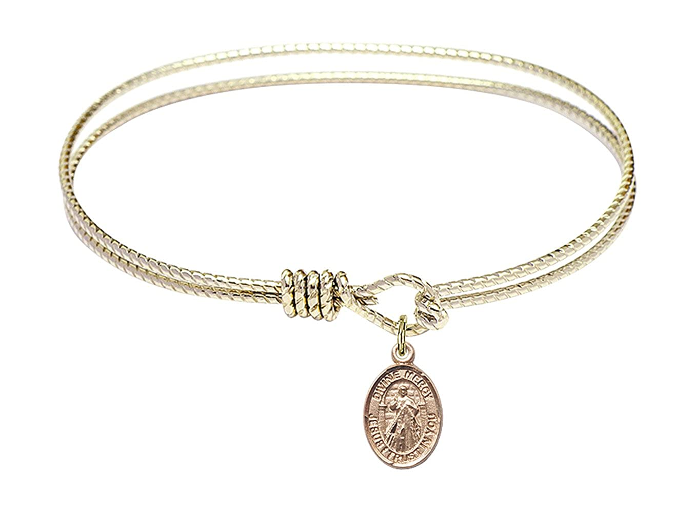 DiamondJewelryNY Eye Hook Bangle Bracelet with a Divine Mercy Charm.
