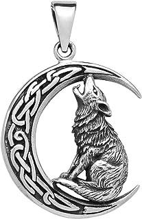 Wolf Anhänger 925 Sterling Silber Keltischer Mond Heulend 27mm für Damen und Herren
