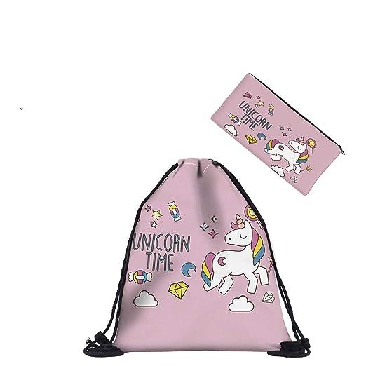 HELLATHUND - Bolsa de Deporte para niña, diseño Hipster con Bolsa de Aseo, Cute Horn