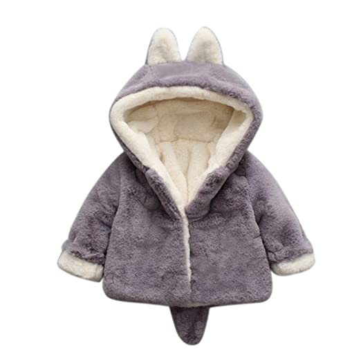 a47f316e5 WuyiMC Warm Coats, Baby Girls Winter Fleece Coat Rabbit Faux Fur Hoodies  Jacket Bunny Ear Hat