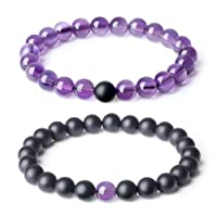 AmorWing Long Distance Relationship Onyx Gemstone Matching Set Bracelet 8mm (2pcs)