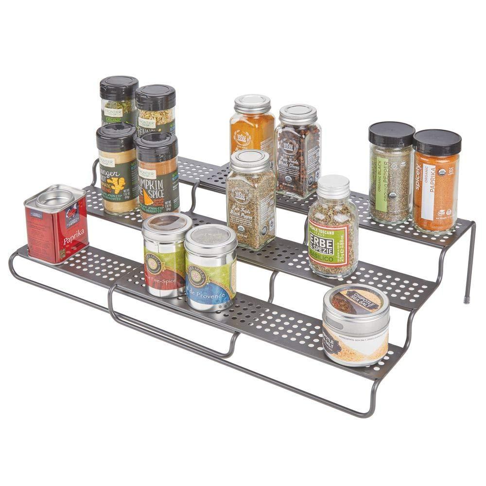 Estante especiero extensible para mantener el orden en la cocina mDesign Estanter/ía para especias para muebles de cocina Mueble para especias de metal con 3 niveles gris