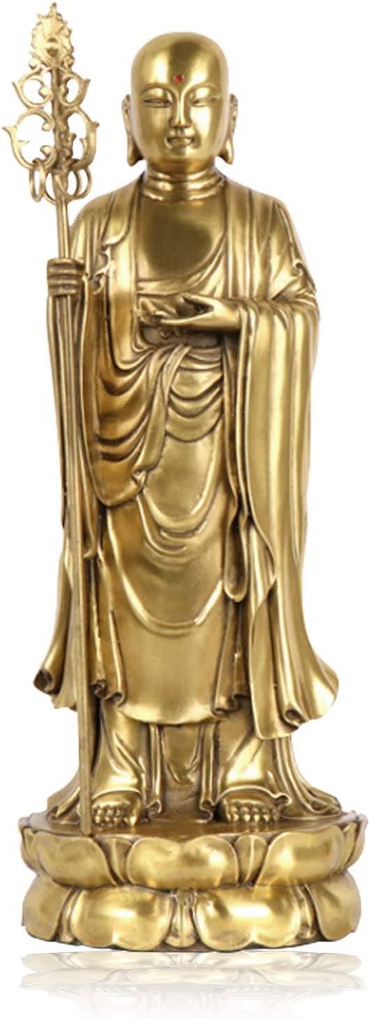 Feng Shui Lucky Buddha Statue Ksitigarbha Figurine Handmade Brass Buddhist Statues and Sculptures for Home & Office Decor Feng Shui Products