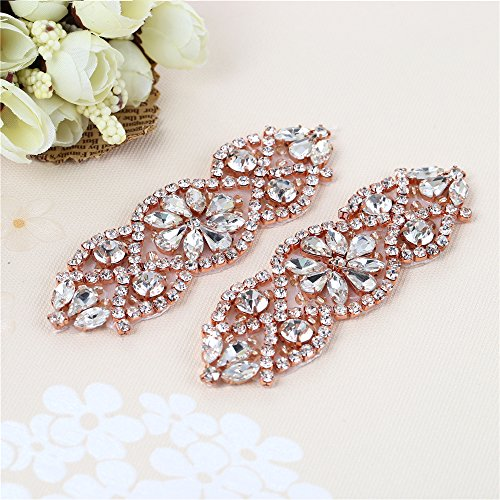 ((2pcs)Bridal Rhinestone Applique Gold, Wedding Appliques Classic Style Sewing Iron on Hot Fix for DIY Bridal Wedding Dress Sash Women Crystal Belt - Rose Gold)