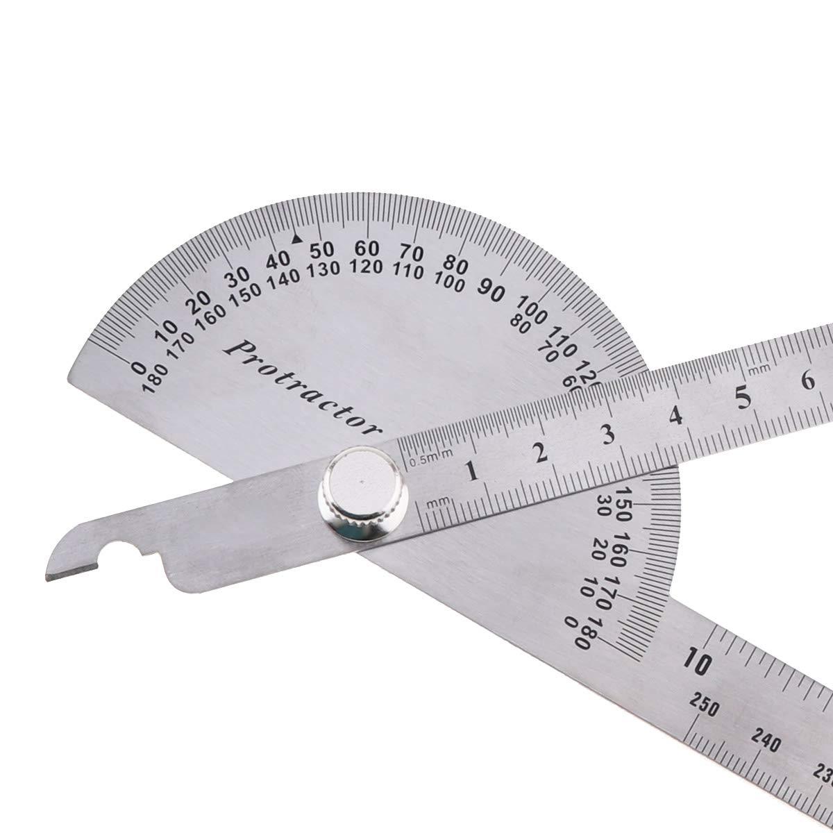 Winkelmesser 0-180 Grad Lineal Winkelmesser mit beiden Armen Handwerker Winkelfinder OriGlam Winkelmesser aus Edelstahl