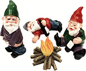 4pcs Fairy Garden Accessories Collectible Figurines Miniature Gardening Gnomes Figurines Ornaments My Little Friend Gnome-Drunk Gnome Kit offor Fairy Garden