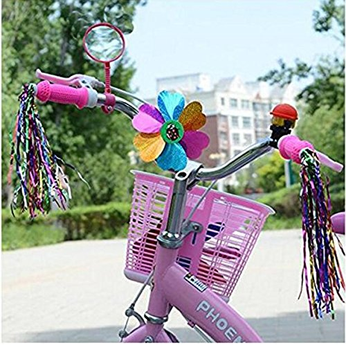 5 Kinds Of Bicycle Accessories Kid's Children Bike Scooter Bell Ring Mirror Flower Pinwheel Star Handlebar Streamers Colour Ribbons Grips Sparkle Tassel Bike Carrier Parts by ASTRQLE (Image #4)