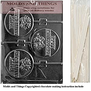 HAPPY ANNIVERSARY POP Wedding Chocolate candy mold with molding Instructions and 50 lollipop sticks by MOLDS AND THINGS