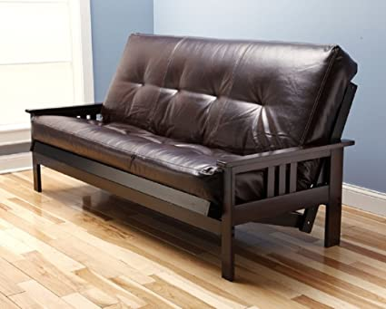 Futon Montrose Espresso Frame W/ Premium Viva Storm 8u0026quot; Mattress Sofa  Bed (Java
