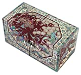 Mother of Pearl Octagonal Peony Flower Design Jewelry Box Display Nacre Jewellry Case (Red)