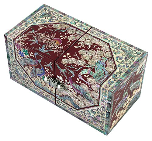 Mother of Pearl Octagonal Peony Flower Design Jewelry Box Display Nacre Jewellry Case (Red) by JMcore High Quality Jewelry Box