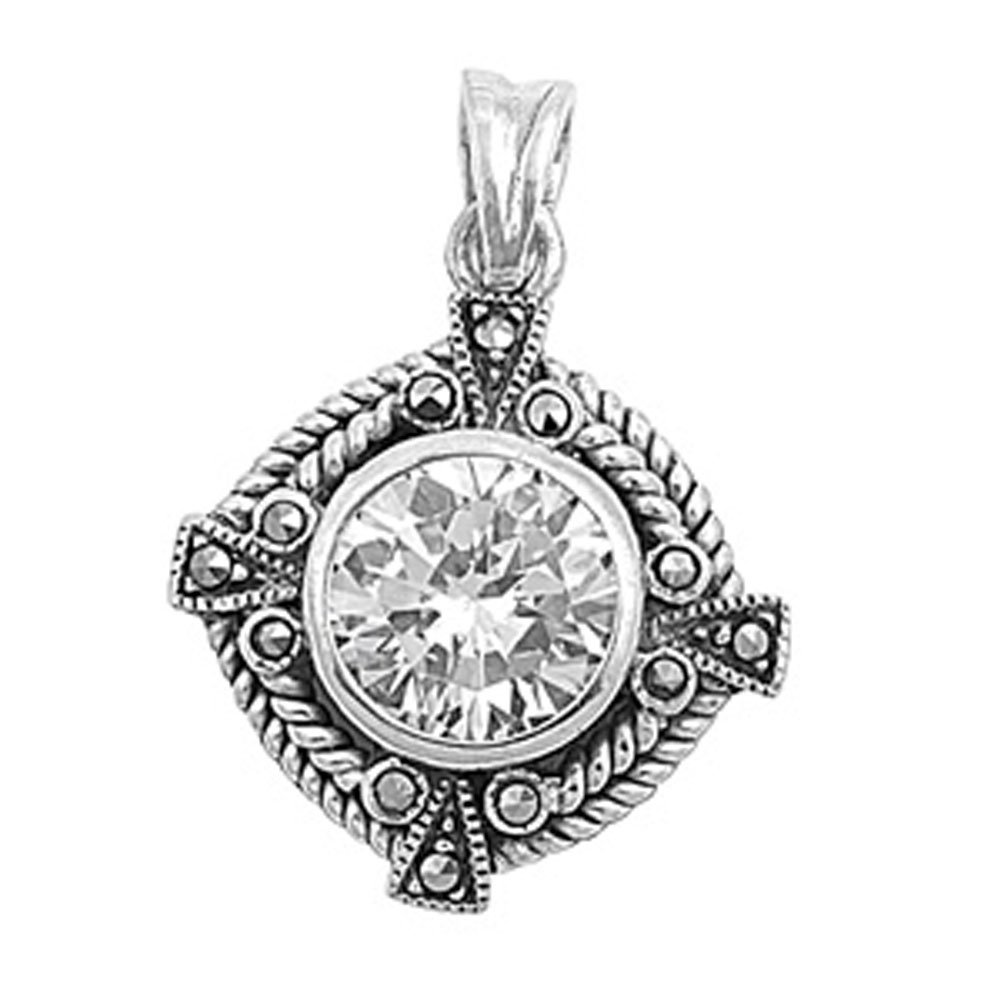 Sterling Silver Vintage Fantasy Circle Medallion Clear Simulated CZ Pendant