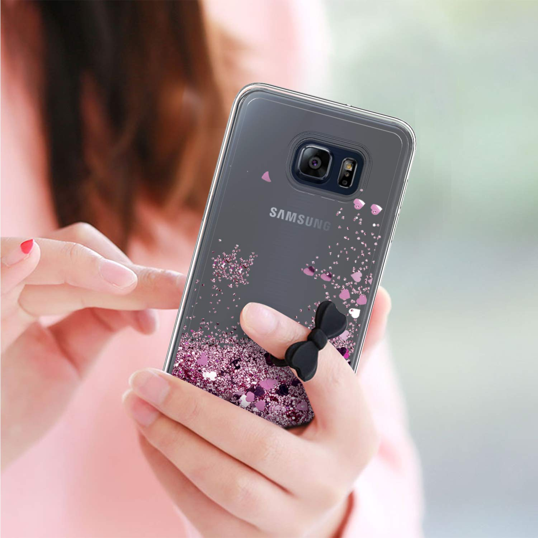 LeYi Compatible con Funda Samsung Galaxy S6 Edge Plus Silicona Purpurina Carcasa con HD Protectores de Pantalla,Transparente Cristal Bumper Telefono Fundas Case para Movil S6 Edge Plus ZX Verde