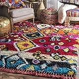 nuLOOM 200OZXL08A-508 Alane Moroccan Tassel Shaggy Area Rug, 5' 3' x 7' 6'