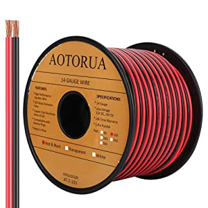 AOTORUA 100FT 14/2 Gauge Red Black Cable Hookup Electrical Wire, 14AWG 2 Conductor 2 Color Flexible Parallel Zip Wire LED Strips Extension Cord 12V/24V DC Cable for LED Ribbon Lamp Tape Lighting