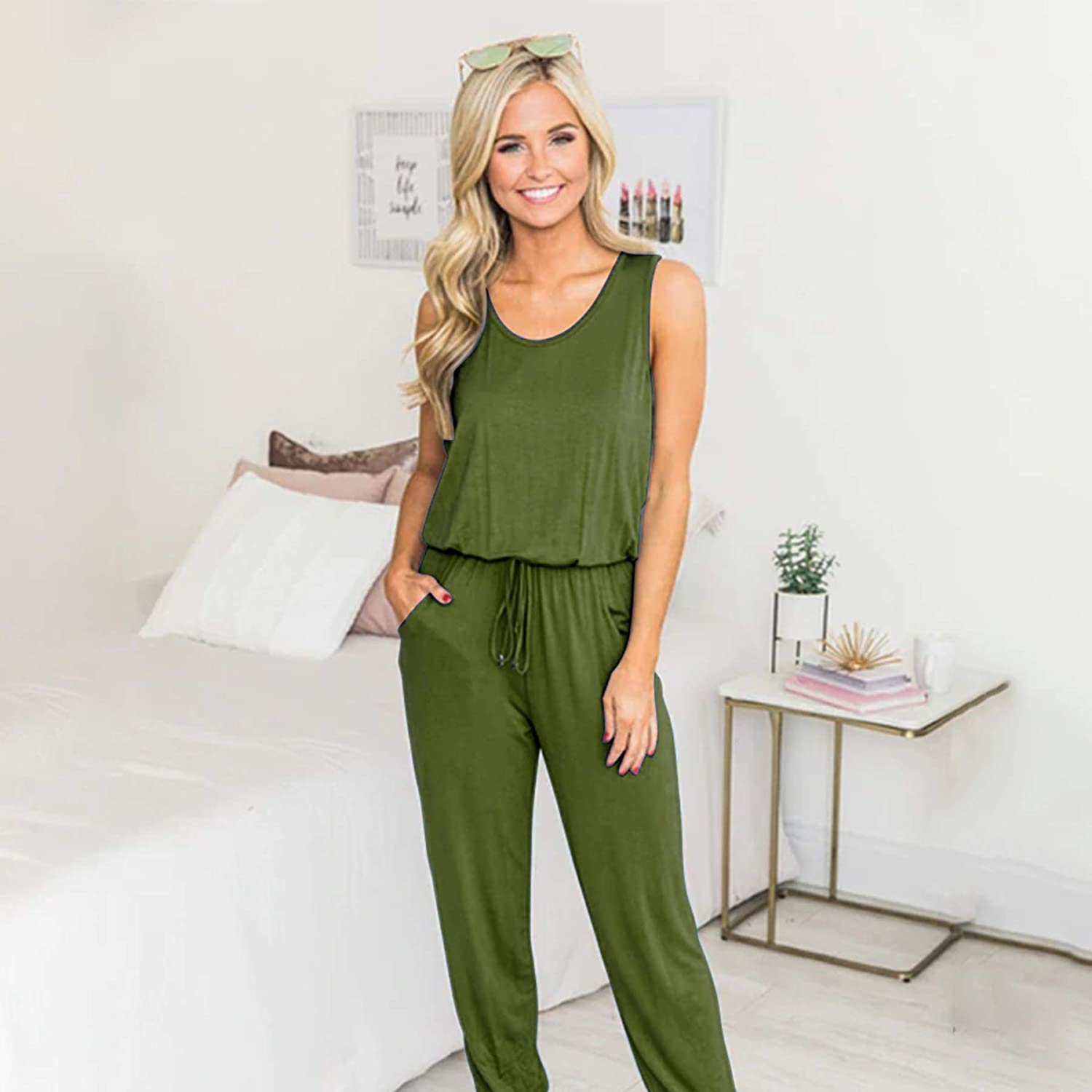 HOYMN Jumpsuits Romper for Women Sleeveless Casual V Neck One Piece High Waist Long Overalls Elegant Romper with Pockets