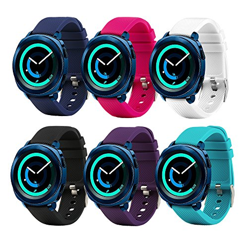 Tkasing for Sumsung Gear Sport Band/Gear S2 Classic Bands/Huawei Watch 2 /Garmin Vivoactive 3-20mm Silicone Watch Band Replacement Strap Fitness Wristband for Samsung Gear Sport Women Men (Pack-6) (Samsung Sports Tracker)