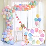 """Party Pastel Rainbow Balloons Assorted, 90Pcs 12"""" Macaron Candy Colored Latex Balloons for Unicorn Birthday Party…"""