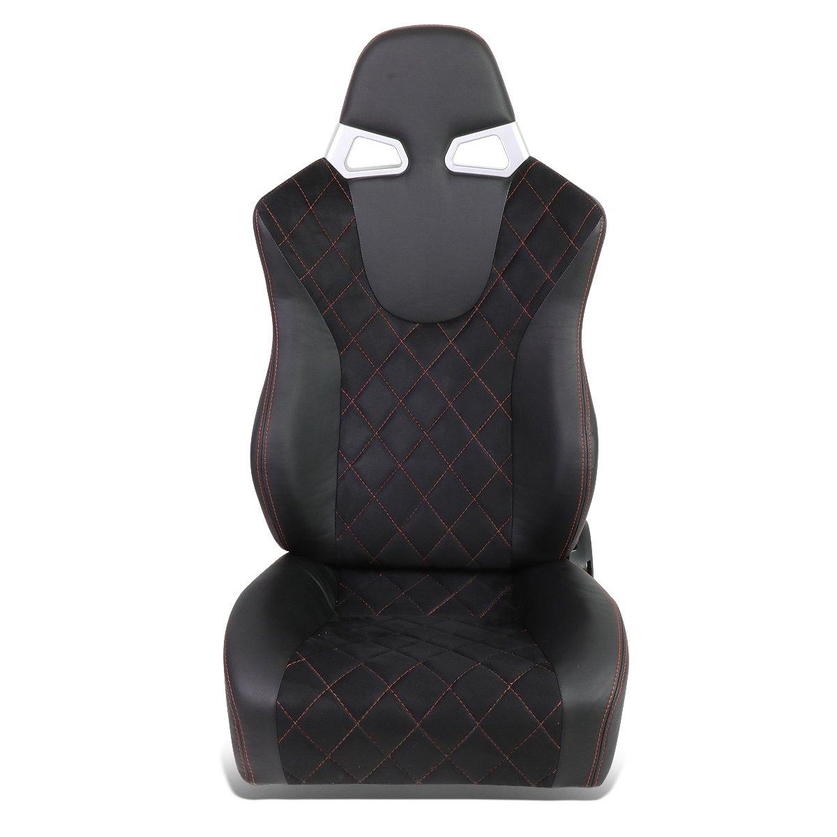 DNA Motoring RS-XL-07-RD-L Racing Seat + Adjustable Slider (Left Side only)