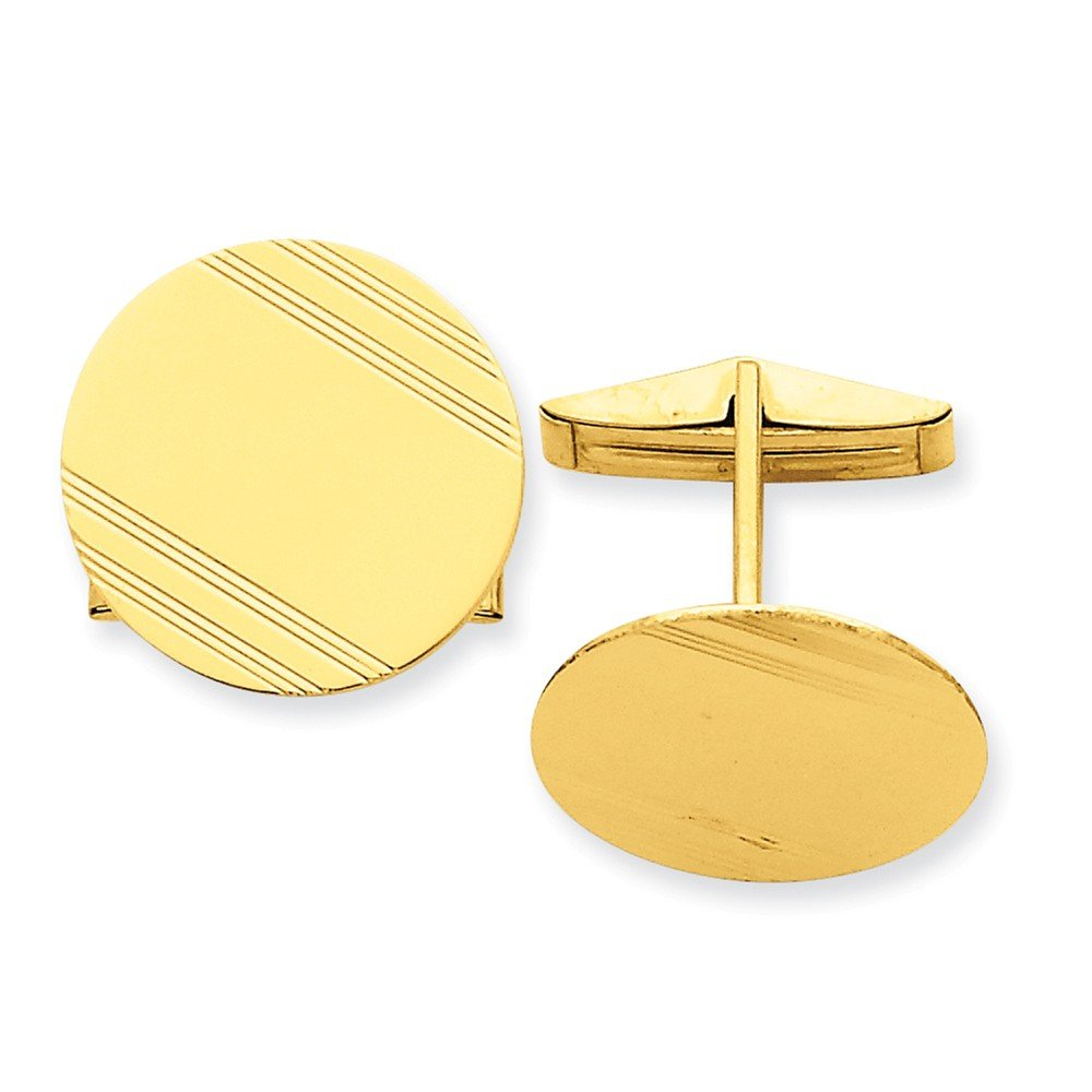 14k Yellow Gold Circlular Cuff Links with Linear Detail