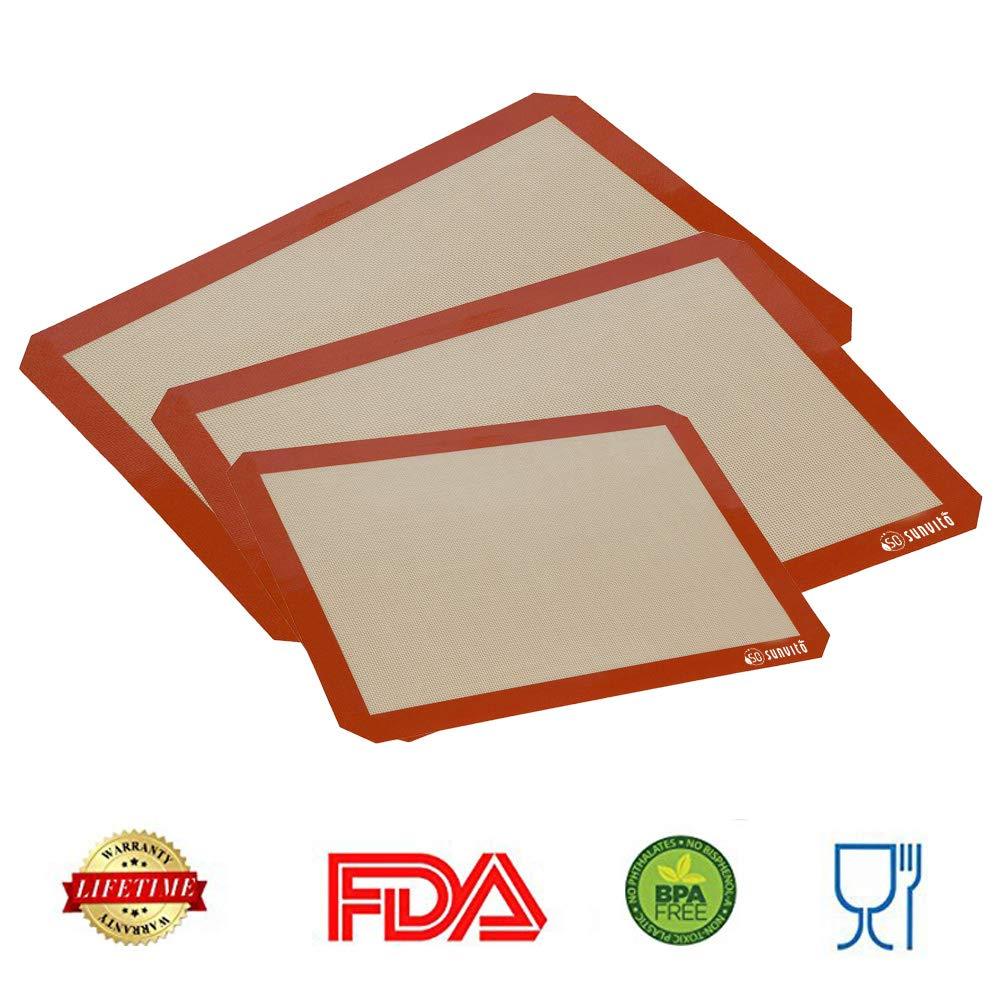 Stuoia di cottura, Set di fogli di cottura in silicone per Sunvito Stuoie di rivestimento antiaderenti Rivestimenti antiaderenti lavabili riutilizzabili resistenti al calore, BPA Free Certificato FDA e LFGB approvato, Set di 3