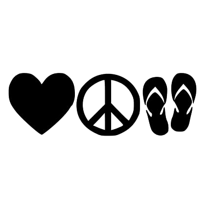 144fce347c9b Image Unavailable. Image not available for. Color  Love Peace Flip Flops  Silhouette Symbol Vinyl Sticker ...