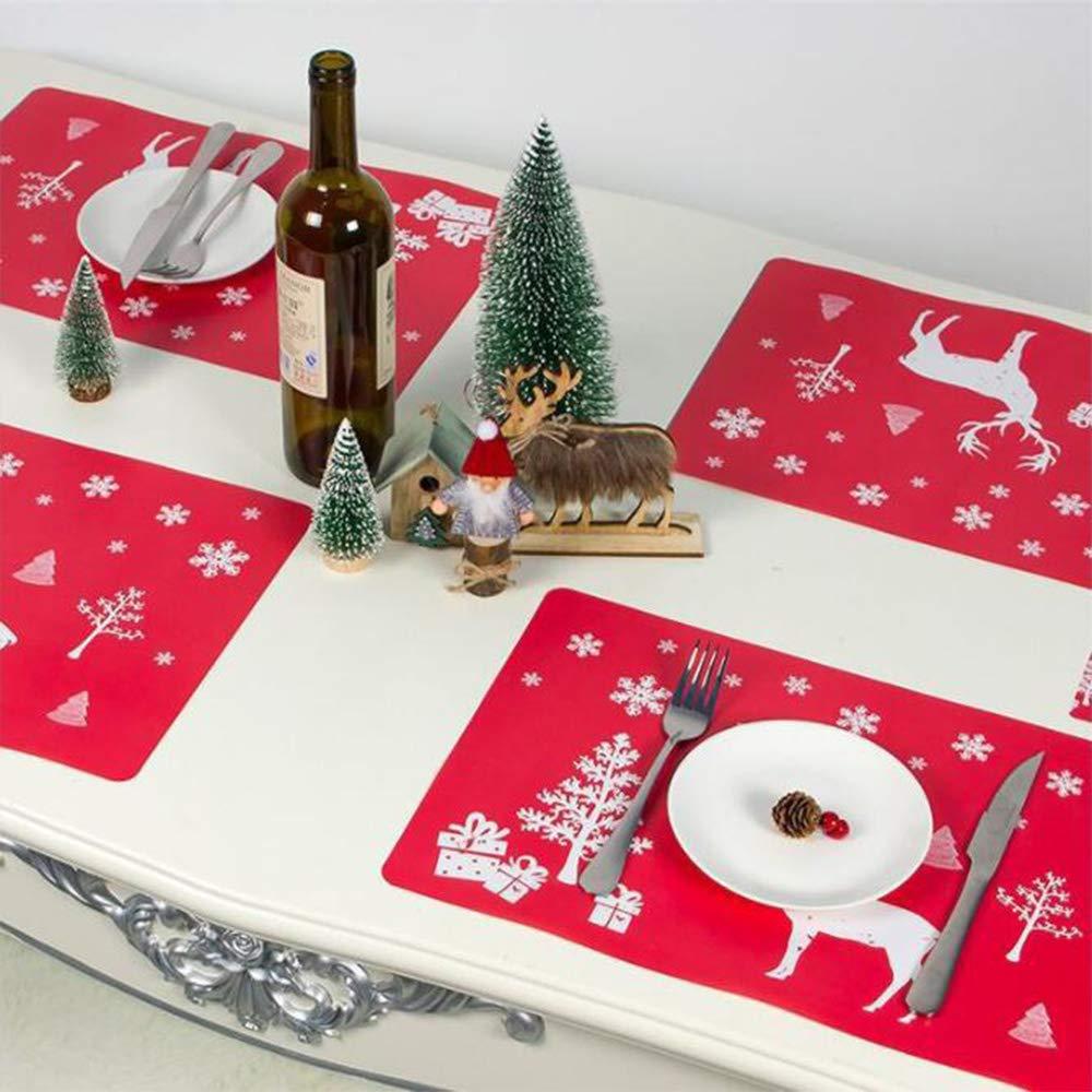 manteles Individuales decoraci/ón de Navidad 12 Piezas de Alce Rojo kungfu Mall Manteles Individuales de Navidad manteles Individuales para Mesa de Comedor