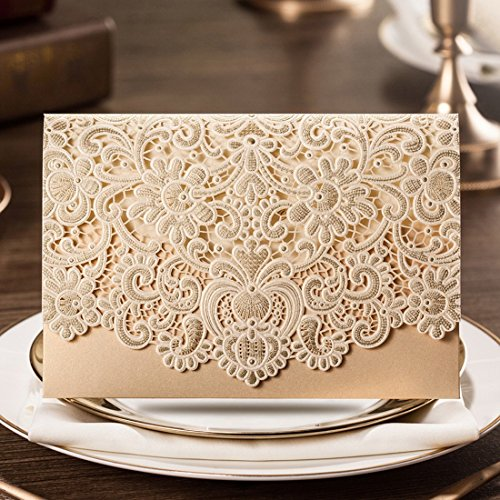 Wishmade 50x Horizontal Laser Cut Gold Wedding Invitations Cards Kits with Hollow Flora Favors Pearl Paper Cardstock CW072 - Picture Perfect Bridal Shower Invitations