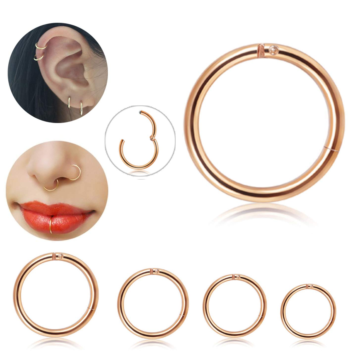 Besteel 4 Pcs Stainless Steel Cartilage Hoop Earrings for Men Women 16g Nose Hoop Ring Helix Septum Daith Tragus Couch Lip Piercing Jewelry,6-12mm Silver-Tone P5L005-16G-S
