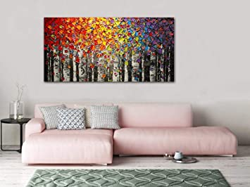 Faicai Art Canvas Wall Art Red Yellow Blue Purple Birch Oil Painting Wall Decor Pictures Hand Painted 3d Texture Tree Paintings On Canvas Abstract