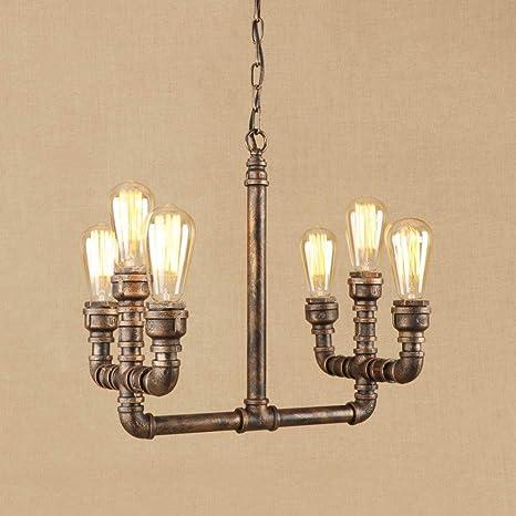 S&shan Lámpara de hierro LED de época luces colgantes E27 ...