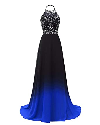 0d60bc487b9 FTBY Ombre Prom Dresses 2019 Gradient Chiffon Halter Evening Dress Beaded  Long Formal Gowns Womens Party