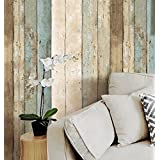 HaokHome 205 Vintage Wood Wallpaper Rolls Blue/Beige/Brown Wooden Plank Murals Home Kitchen Bathroom Decoration 20.8