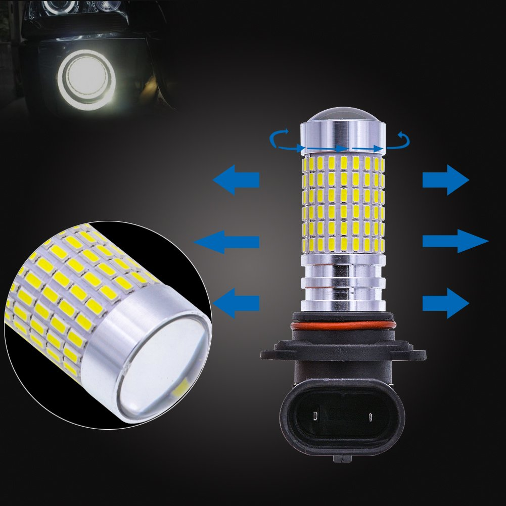 NGCAT 2PCS 1500 Lumens 3014SMD 144-EX Chipsets 9006 HB4 Super Bright LED Bulbs with Lens Projector Fog Lights DRL Daytime Running Lights Turn Signals Back Up Reverse Lights,Xenon White 12-24V