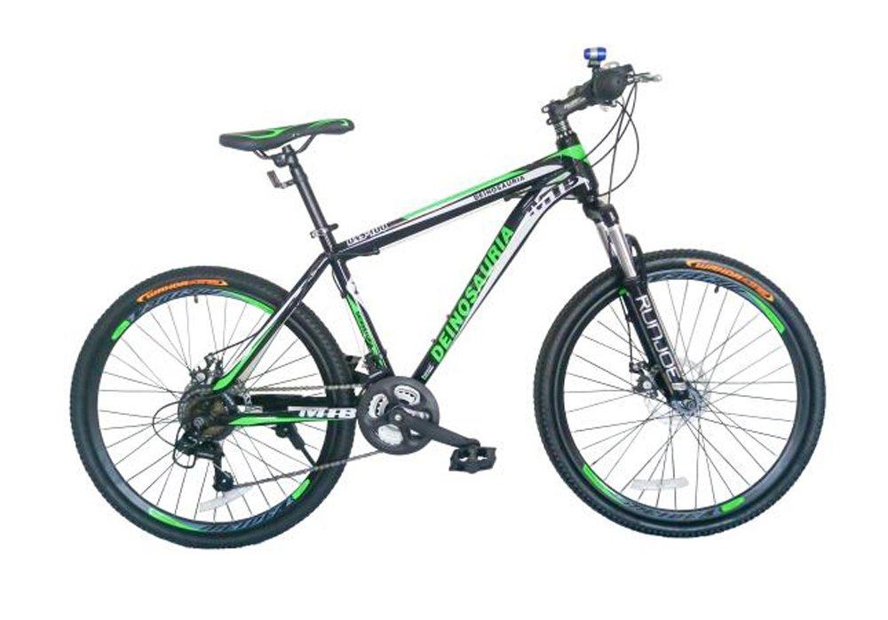 GOWAY(ゴーウェイ)マウンテンバイク 自転車 26インチ シマノ純正21段変速 Wディスクブレーキ 前輪クイックリリース [並行輸入品] B0725PQZCYブラックグリーン