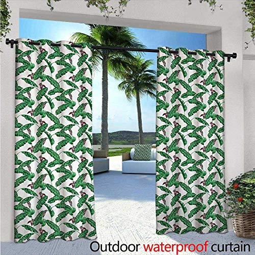 BlountDecor Banana Leaf Indoor/Outdoor Single Panel Print Window Curtain W72 x L84 Lush Jungle Leafage Flowering Stems of Island Tree Hawaiian Aloha Pattern Silver Grommet Top Drape Green Plum White from BlountDecor