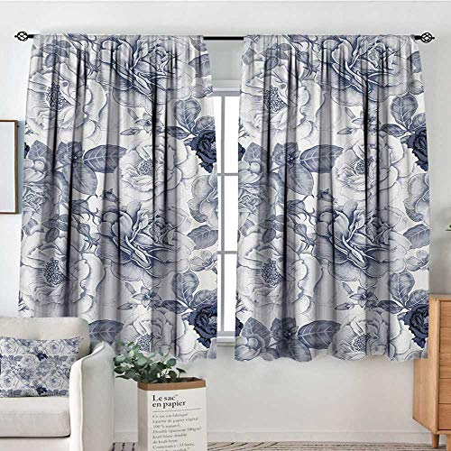 (Mozenou Shabby Chic Window Curtain Drape Garden Spring Roses Buds with Leaves Flowers Romantic Image Artwork Decor Curtains by 72