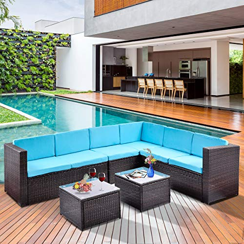 FLIEKS 5-Piece Outdoor Furniture Sectional Sofa Sets All Weather Brown Wicker Patio Conversation Set with 2 Coffee Tables (5-Piece, Blue Cushion)
