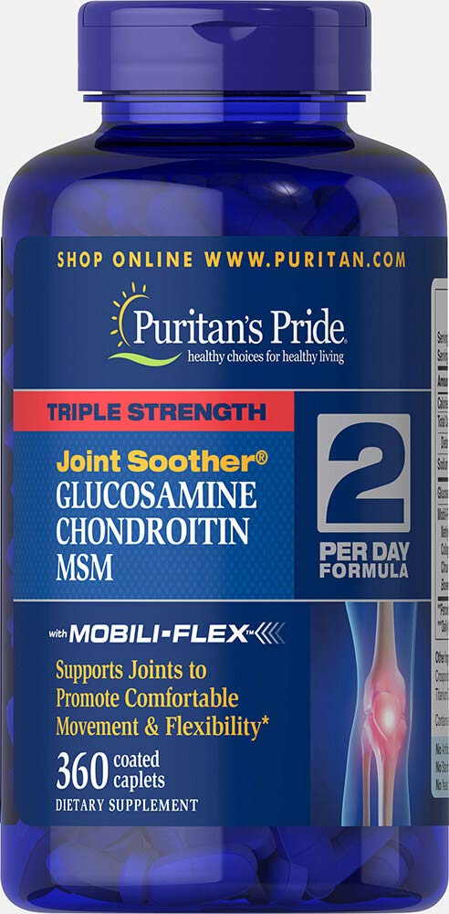 Puritans Pride Triple Strength Glucosamine, Chondroitin and Msm Joint Soother, 360 Count by Puritan's Pride (Image #1)