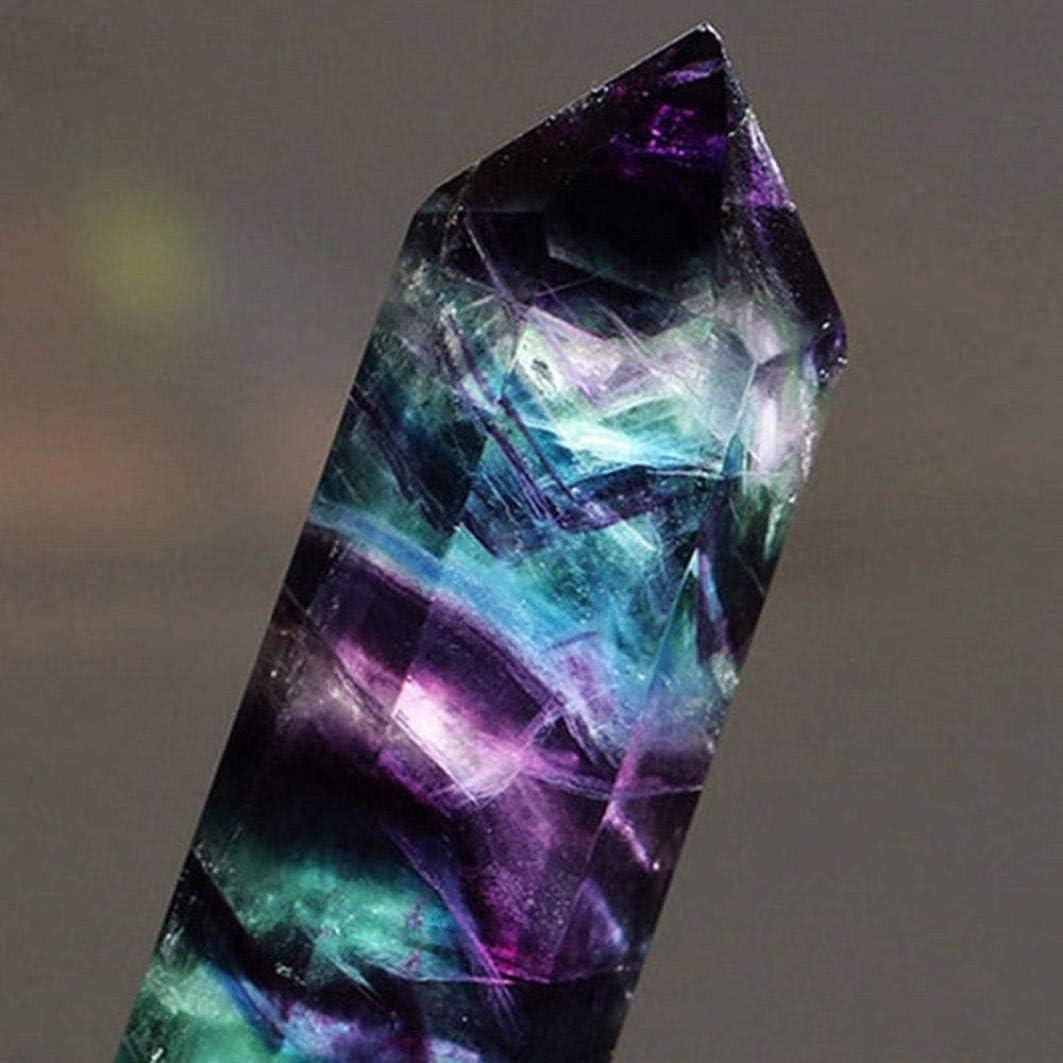 TrifyCore - Columna de Cristal Hexagonal Brillante y Natural, Cristal Hexagonal de Cuarzo, Piedra fluorita curativa, Color Morado, Verde y circonita (C)