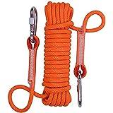 HONEI 10mm クライミングロープ ザイル ガイロープ 耐荷重1000㎏ 登山 アウトドア キャンプ 防災 安全 カラビナ 二個 付き 7色6長さ選べる