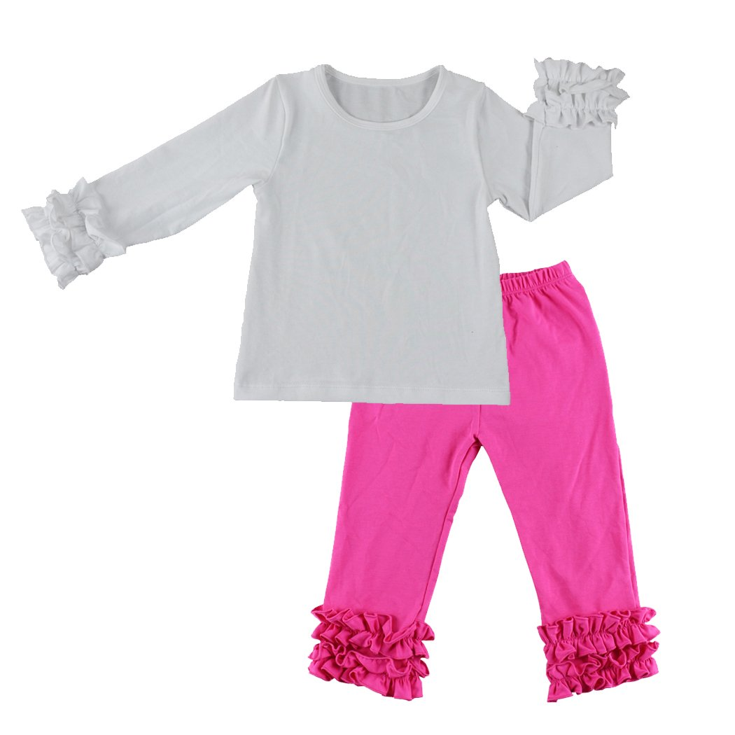3e2452692 Wennikids Children Baby Cotton Icing Ruffle Shirt Ruffle Sleeved Raglan  Pants Set: Amazon.ca: Clothing & Accessories