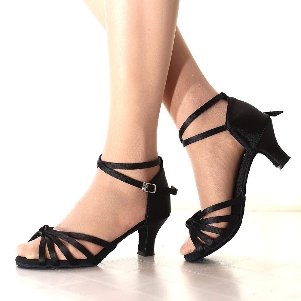 VESI-Zapatos de Baile Latino de Tac/ón Alto//Medio para Mujer Lazo Negro 40