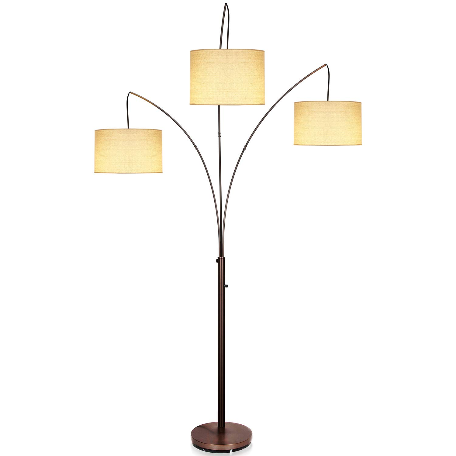 Brightech Trilage - Modern LED Arc Floor Lamp with Marble Base – Free Standing Behind The Couch Lamp for Living Room - 3 Hanging Lights, Great for Reading - Oil Rubbed Bronze